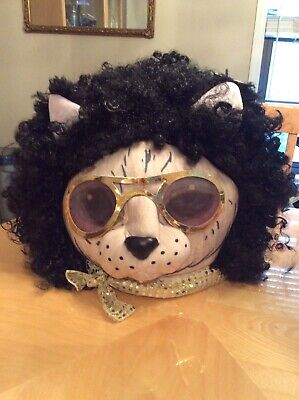 Kool Kat Halloween Costume (Big KOOL KITTY Cat Head MASK Halloween COSTUME Affro PLUSH Furry COSPLAY)