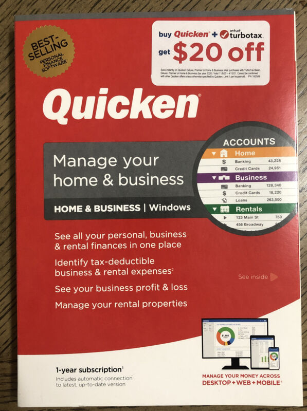 Quicken Home & Business Personal Finance (1-Year Subscription) Windows FREE SHIP
