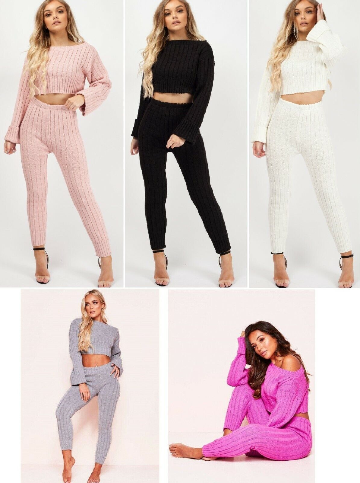 loungewear tracksuit ribbed knitted crop top