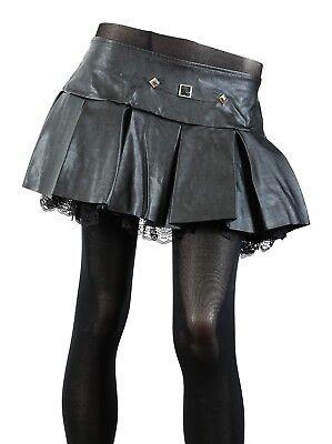 Black Skirt Leather Like Pleated School Girl Mini Costume Cosplay Punk Goth