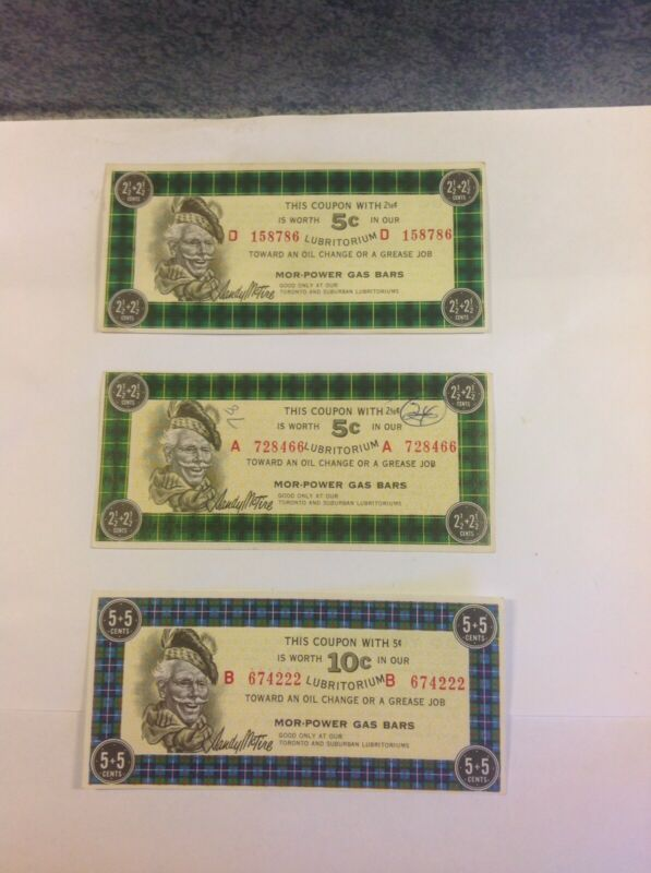 Vintage Canadian Tire Money Coupons 5 Cent 10 Cent Gas Coupon
