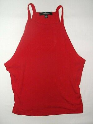 Ruby Ribbed Tank Top - Ambiance ribbed crop tank top S M red nwot