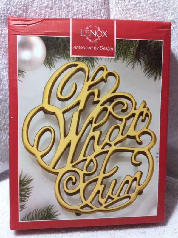 Lenox Golden Holidays Oh What Fun  Trivet New In Box Christmas Holiday