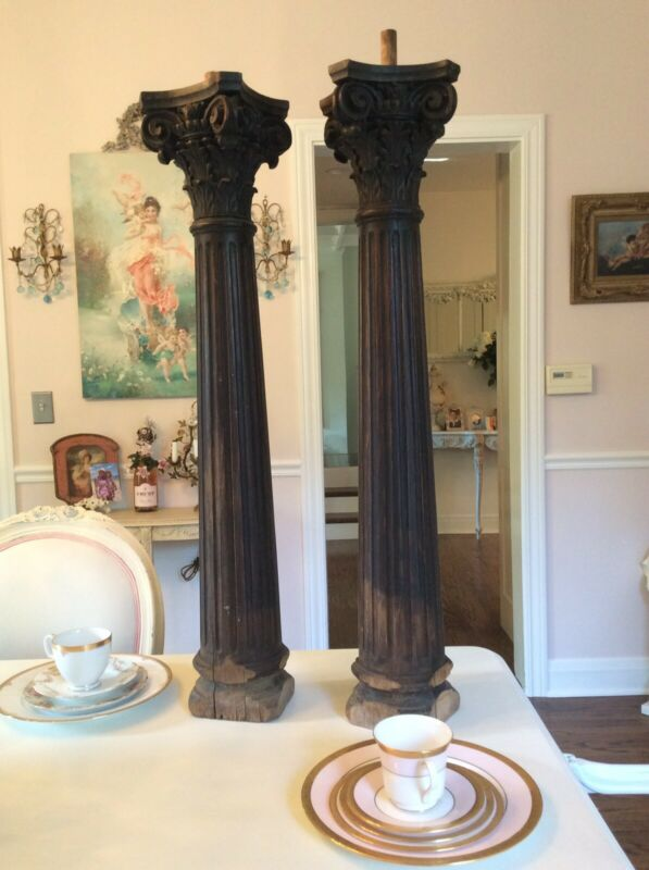 Antique vtg pair Carved Pillars Wood columns Victorian Architectural capital