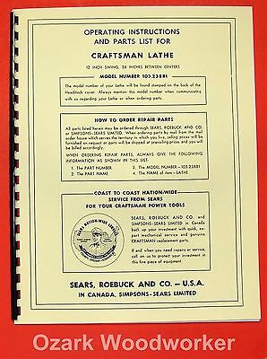 Craftsman 103.23881 Wood Lathe Parts Owners Parts Manual 0172