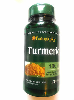 Turmeric Curcuma Longa Natural Whole Herb 400Mg 100 Pills Capsules