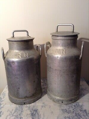 Pair of Vintage French Milk Churns with Metal Lids (3723)