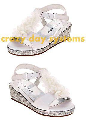 Glitter Wedge White Flower Dress Sandals George 6, 7, 8, 9, 10 Toddler Girl NEW  - White Toddler Dress Shoes