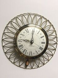 Vintage Sessions Wall Clock Gold Metal Electric White Face Round Scroll Kitchen
