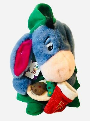 "Disney Store 2000 Christmas Eeyore cookies stocking 13"" plush with tags"