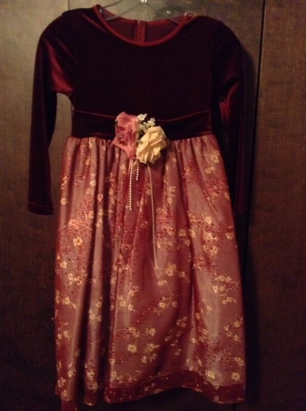 Girls DRESS Size 9-10 Dressy Formal Burgundy Chiffon Tulle CHRISTMAS Holiday