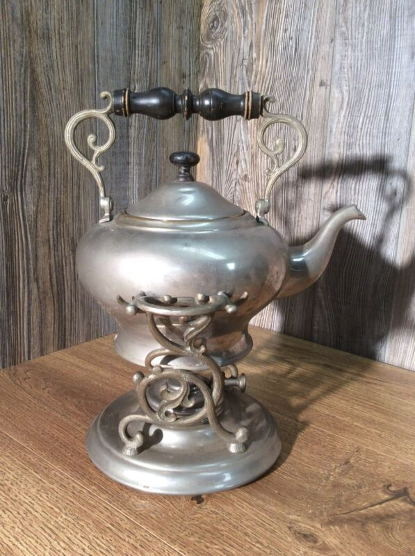 Antique Nickel Plate Teapot And Stand With Warming Burner Tilting Stand C5