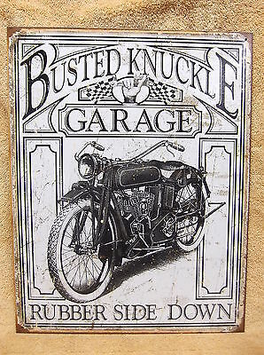 Busted Knuckle Garage Tin Metal Sign Decor Weathered Vintage Look Motorcycle NEW ()