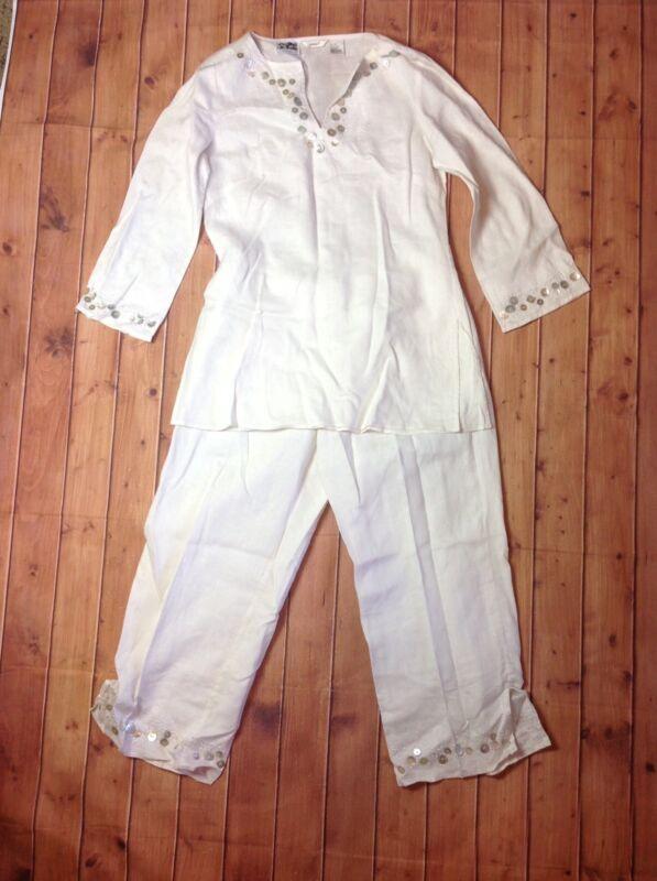 EDWARD Irish Linen 2 Piece Capri Pants & Tunic Top Set Womens Sz 8 Medium Ivory