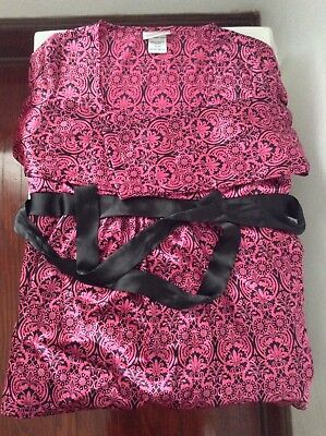 Oh  Mamma Maternity Blouse Medium Long Sleeve Pink Black Ties In Back