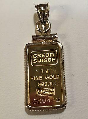 24K Fine Gold Credit Suisse 1 Gram Bullion Ingot   14Kt Framed Charm Pendant