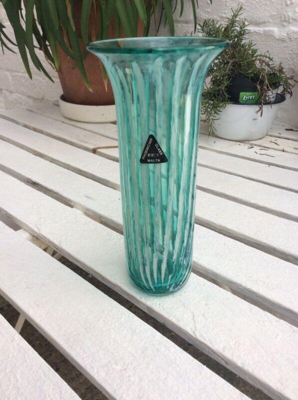 Phoenician Glass Vase Green Seaglass Malta 1989 Beautiful