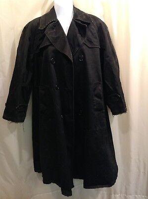 SHABBY DISTRESSED Women's BLACK TRENCH Coat COSTUME MEDIUM - Black Trench Coat Costume