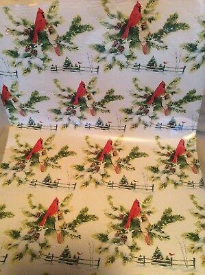 Christmas Roll (VINTAGE HEAVY ROLL CHRISTMAS CARDINAL GREENERY GIFT WRAP 19LBS. 24