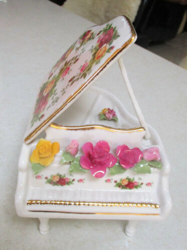 """ROYAL ALBERT """" Old Country Roses """" Musical Piano with Applied Roses  1st Quality"""