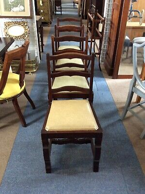 Four Stinkwood/ Rosewood Dining Chairs In The Spanish Style
