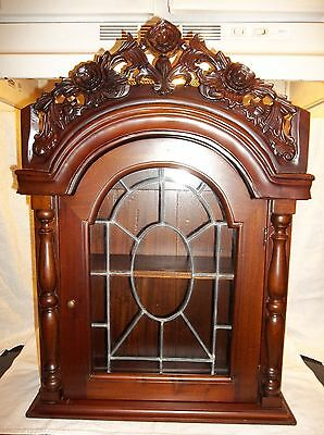 ANTIQUE VINTAGE WOOD CARVED ROSES FLOWERS CURIO FIGURINE CABINET DISPLAY