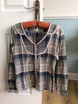 Ladies Ichi Long Sleeve Cotton Checked Blouse XS