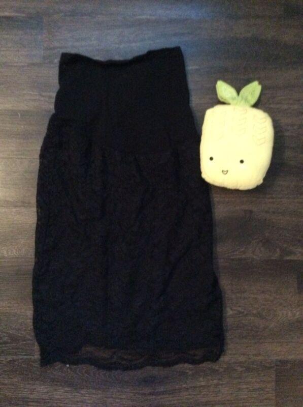 Motherhood Maternity Pencil Skirt Black Lace Size Small