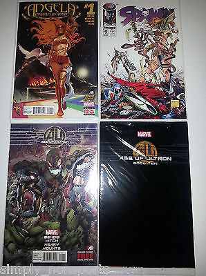 Lot 4X Marvel Avengers Age Of Ultron  1 Foil Book 10 Spawn  9 1St    1 Angela