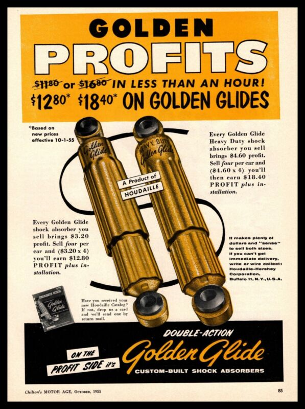 1955 Houdaille Hershey Corp. Golden Glide Double-Action Shock Absorbers Print Ad