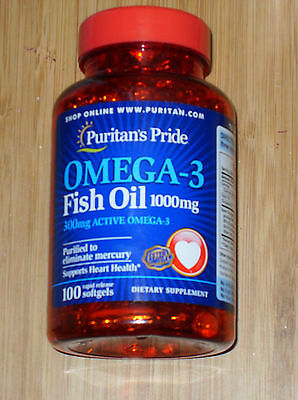 Puritans Pride Omega 3 Fish Oil 1000 Mg  300 Mg Active Omega 3  100 Softgels