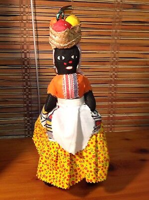 "Vintage Negri Woman Doll Jamaica Souvenir Soft Stands 11"" Tall Basket On Head"