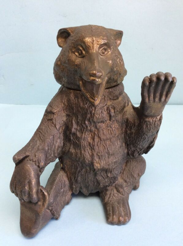 """Bear Inkwell Spelter Hand Painted 6 1/2"""" Tall"""