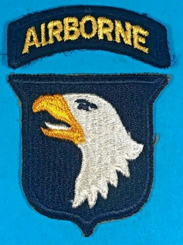 WW 2, 101st Airborne Division, White Tongue, Type 6 SSI, Full Emb, Exc. Cond, #7