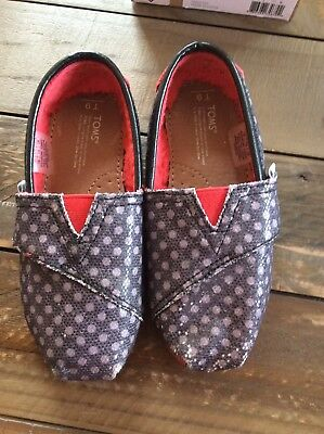 Toms Tiny 9 Shoes Glitter Dot Polka Dot Sparkle lined Black White Red Slip On