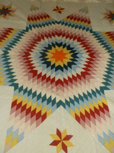 Vtg  STAR QUILT Farmhouse  No Batting HAND QUILTED  Beautiful