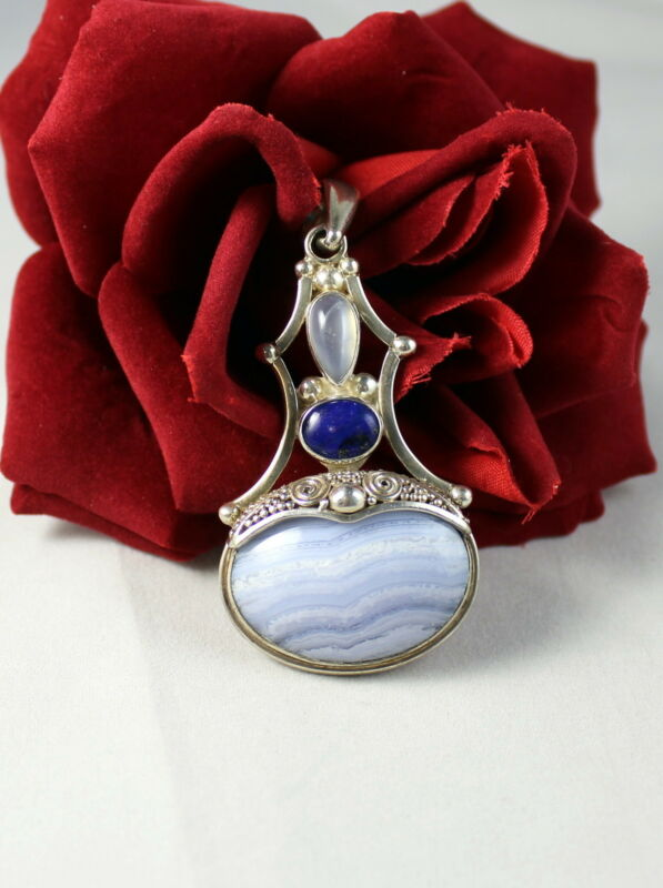 Sterling Silver Sajen Blue Gemstone Goddess 26g Pendant   Cat Rescue