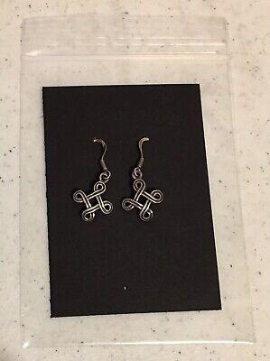 "Celtic Cross Earrings Silver Tone 1.25"" Long French Wire Fashion Jewelry"
