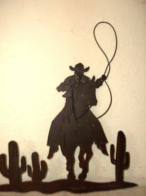 GREAT PIECE COWBOY RIDING HORSE VINTAGE RUSTIC WESTERN METAL ART DECOR