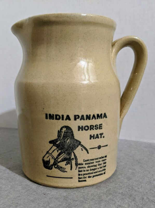 India Panama Horse Hat Stoneware Pitcher Made in England 7""