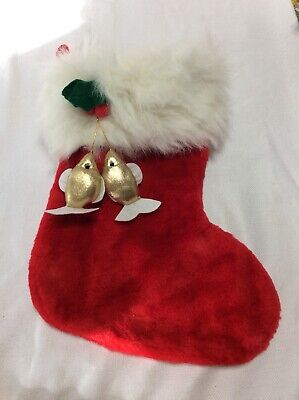 White And Gold Christmas Stockings (Red & White Christmas Stocking with 2 Gold Fish Dangles)