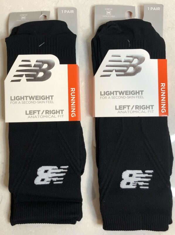New Balance Lightweight Running unisex Crew 2 Pair Black Socks
