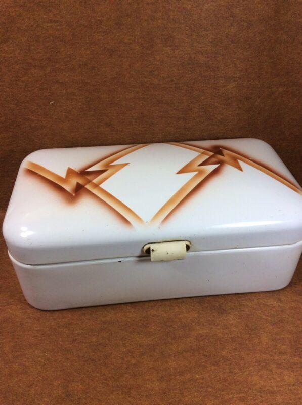 Vintage Porcelain Enamel Hinged GERMAN BREAD BOX - 1930