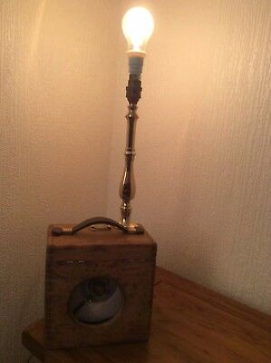 Vintage Toulet Racing Pigeon Clock In Oak wooden Case Circa 1900s upcyled lamp