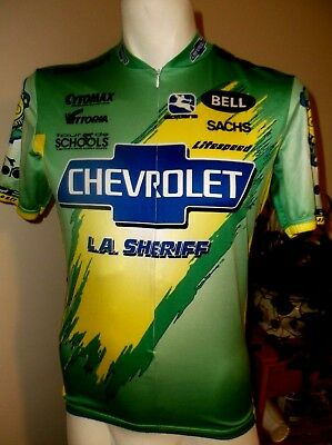 Vtg GIORDANA LASD Los Angeles Sheriff Dept Cycling Jersey MEDIUM Chevrolet aa1af842c