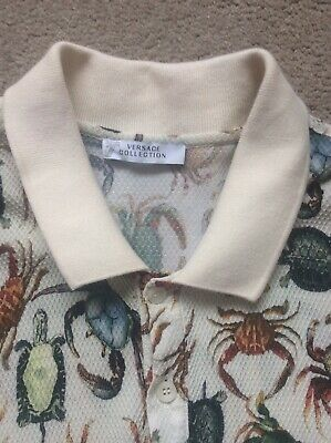 Versace Collection Beige Print Crabs Polo Short Sleeve Shirt Size L. 100%