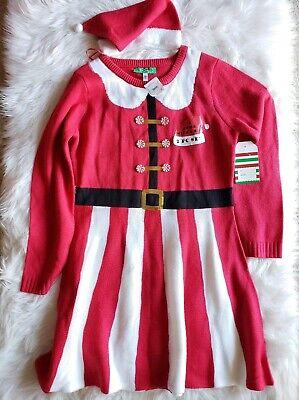 NWT 'Tis The Season Cute Ugly Christmas Sweater Dress XL Mrs Santa Red w/ Hat ()