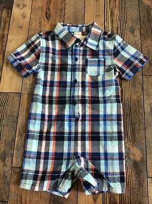 NWT Gymboree Red Blue Plaid Romper Outfit Baby Boy 18-24 (Blue Plaid Romper)