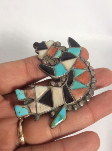 Old pawn Native american Zuni silver multi stone rainbow man Pin Brooch 1