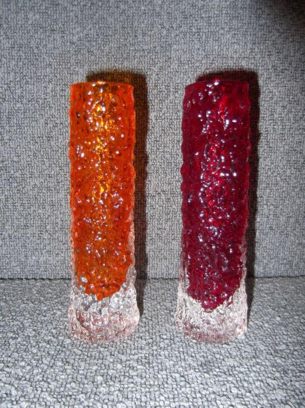 Whitefriars Glass Geoffrey Baxter Bark Texture Vases 1 Red 1 Orange